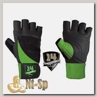 Перчатки черно-зеленые
